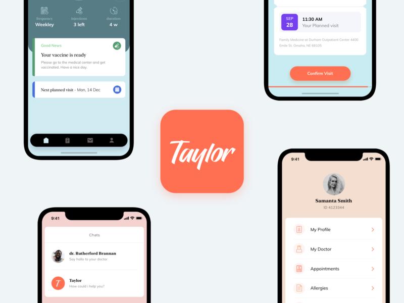 Taylor - allergy smart clinic tracker chat clinic allergy health care health app cards ui cards orange health healthcare design ux vector icon flat ui app