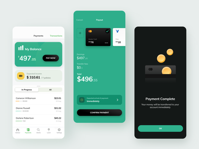 Insurance agent payout ios green payments banking cards insurance payout payment gradient ui design app