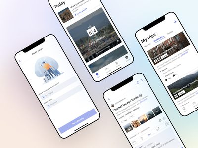 Ravel tips road booking tickets planer travel travel app ux illustration blue gradient design ui app
