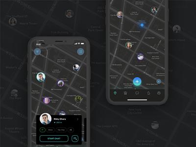 GeoChat simple map dark flat ui design app