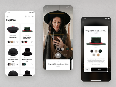AR Hats bw white black design ui camera minimal fashion art app