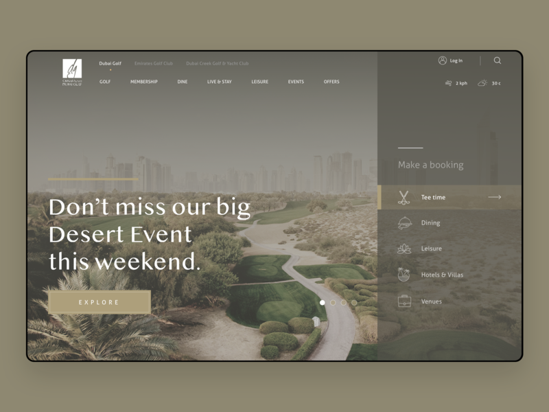 Dubai Golfing Club dark gold flat icon typography branding page landing booking dubai luxury golf golf club web ui design