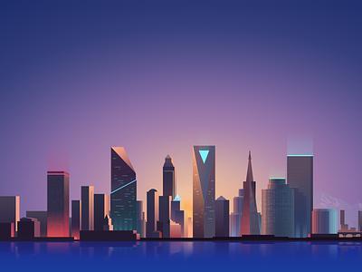 Promo Illustration gradient landscape city vector illustration