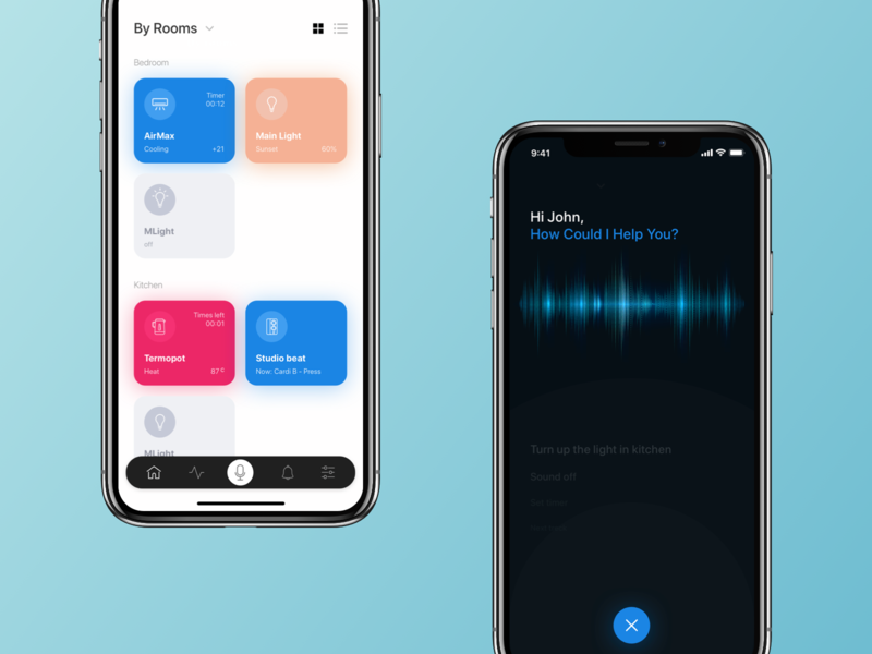 smart home icon gradient flat dark blue promo app ui