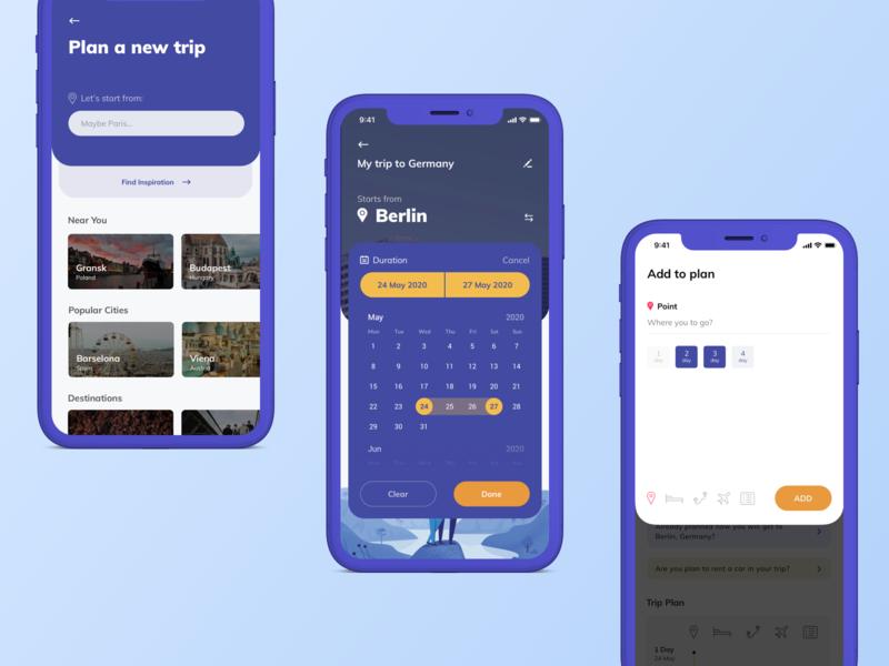 travel planer vector ux typography branding flat blue ui design app