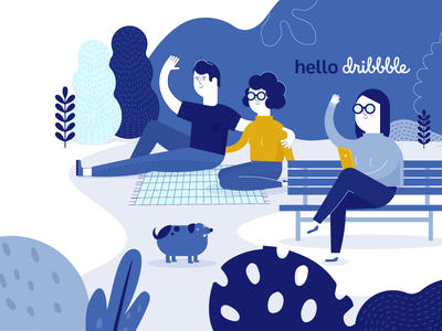 Facebook Food | Hello Dribbble! outdoor plants dog picnic ui vector illustration flat design character
