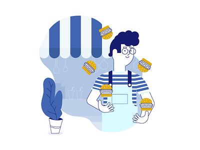Facebook Food stripes redesign poster illustrator vector illustration flat character design