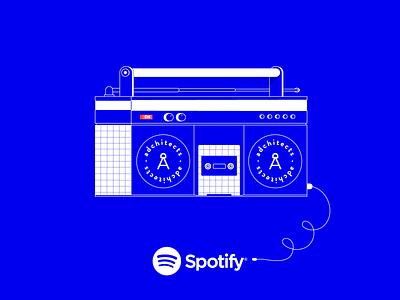 Spotify old-school beats boombox music spotify adobe illustrator adchitects vector illustration flat