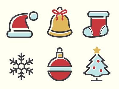 Christmas Icons vol. 1 set winter snow celebration tree xmas tree ball cap snowflake bell sock santa holiday friday freebie free stuff free freebie xmas icons christmas