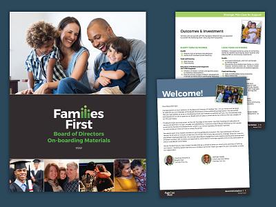 Families First Board Packet non profit non-profit nonprofit branding graphic design design