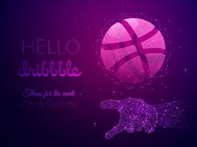 Hello dribbble / Thanks shot for Anna Sereda anttoniart digital basketball thanksshot vector polygonal wireframe lowpoly hellodribbble