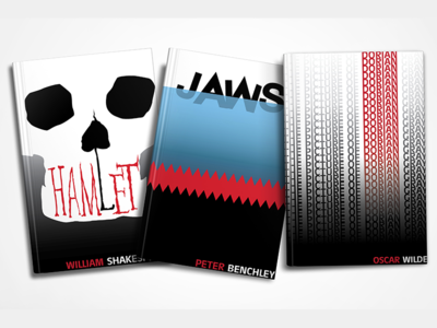 Redesigned Book Covers illustrator graphic design the picture of dorian grey jaws hamlet book covers