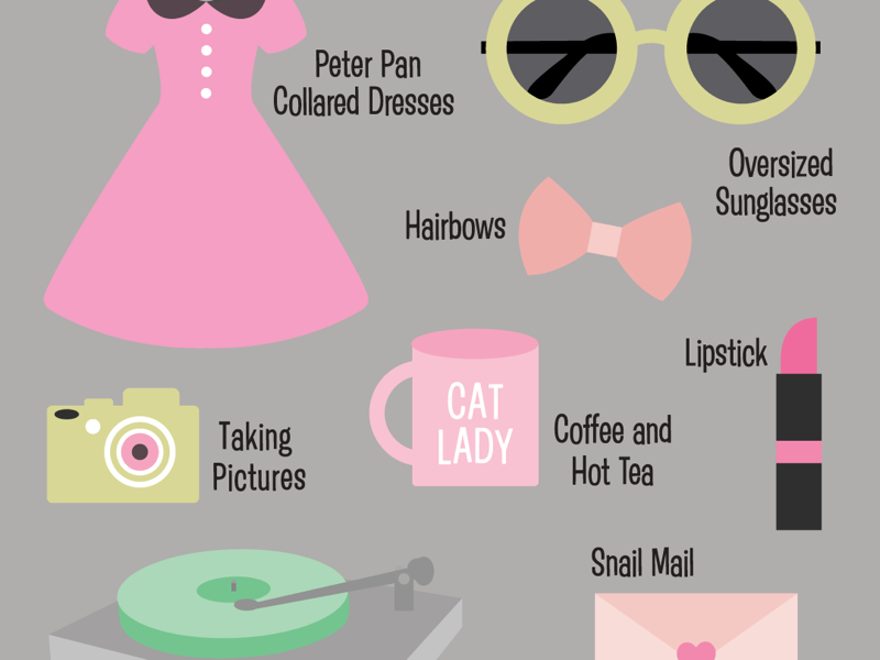 Favorite Things simple cute digital illustration flatdesign illustration dresses hairbows sunglasses lipstick snail mail music cat lady pictures