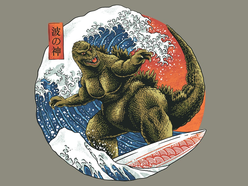 King of Waves design summer funny shirt threadless illustration vintage monsters japanese surfing beach ocean giant waves kaiju godzilla