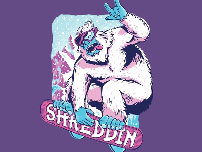 Shreddin Yeti winter snow nature animals t-shirt art threadless funny bigfoot yeti snowboarding