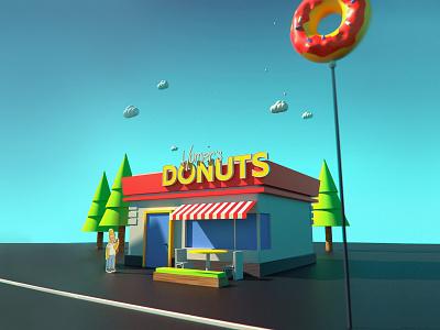 Homer's donuts citybuild landscape build homer simpsons illustration c4d 3d