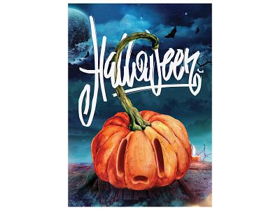 Halloween collage photoshop 2d typography poster pumpkin halloween lettering illustration