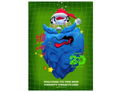 2021 character collage crazy happy funny 3d 3d blender santa new year poster
