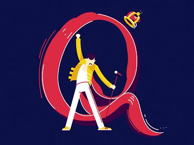 Q concert poster crown freddie mercury mercury britan queen music logo lettering character vector illustration