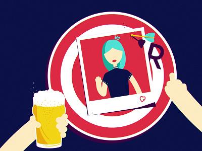 R exgirlfriend girl character typography darts beer drink drank bar rage vector illustration
