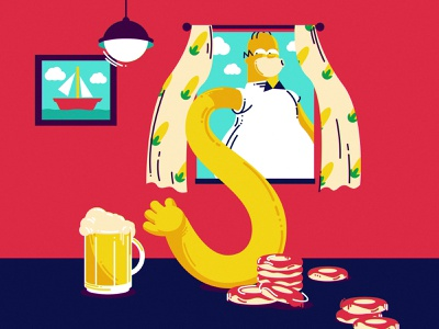 S 2d cartoon illustration 36daysoftype beer homer simpsons lettering character illustration vector