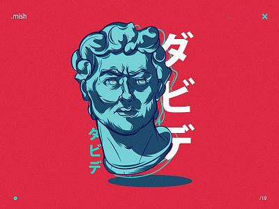 David japanese art asian style academy sculpture david character illustration vector