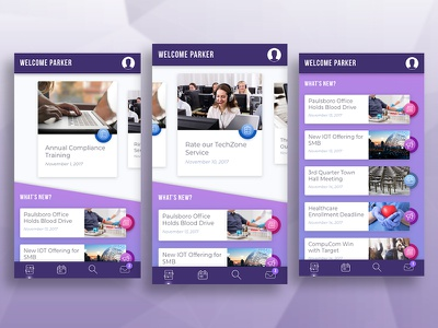 Employee Engagement Landing Page [Mobile] action items events announcements activity feed engagement carousel menu list to-do gradient prototype mobile