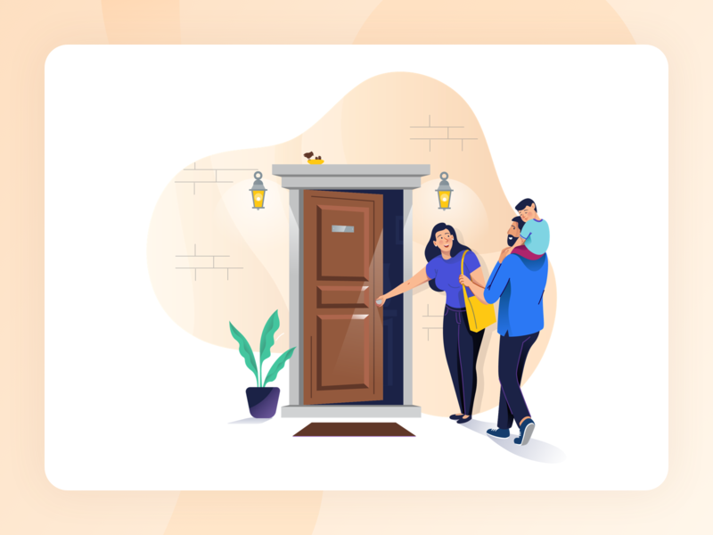 Rubique - Illustrations procreator kid house home family home loan illustration design graphic design ui typography animation web type flat ux logo sketch finance character design