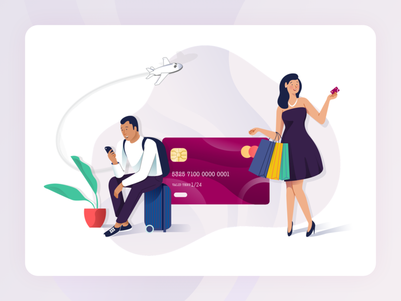 Rubique - Illustrations procreator shopping credit card flight travel character design finance sketch logo ux flat type web animation typography ui graphic design design illustration