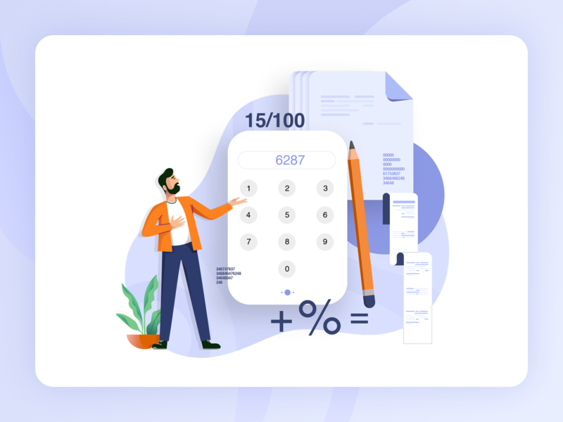 Rubique - Illustrations calculation procreator data pencil documents calculator character design finance sketch logo ux flat type web animation typography ui graphic design design illustration