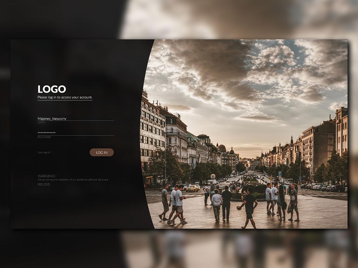 Log-In Screen minimal design website web ux ui