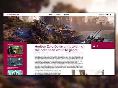 Gaming News Website minimal design website ux ui web