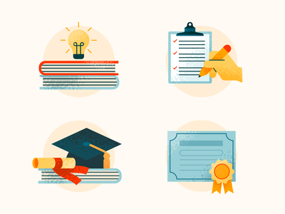 Higher Education Icons graduate flat books illustrator 2d art 2d texture bachelors masters education icon vector illustration design