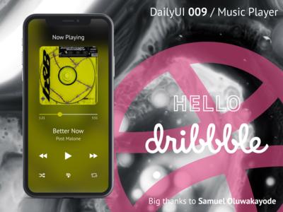 Music Player / DailyUI 009 / Hello Dribbble!