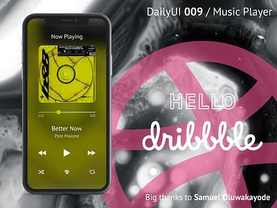 Music Player / DailyUI 009 / Hello Dribbble! music player mobile ui hello dribbble dailyui009 dailyui