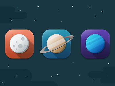 Flat Icons Planets planets flat icon space mercury saturn uranus ring detail dark