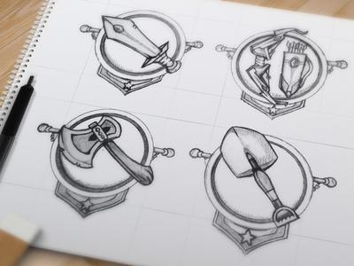 Knight Game badges game badges knight sword shovel axe bow arrow cartoon sketch art