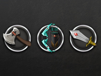 Knight icons set knight icons set weapon bow axe sword game ios iphone ipad crystal