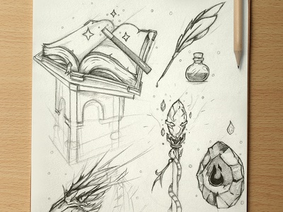 Wizard sketches wizard sketches potion book magic crow plume ink stick wand crystal fire