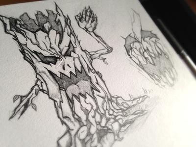 Nightmare tree sketch tree sketch zombie nightmare game video app design horror scary scream dark
