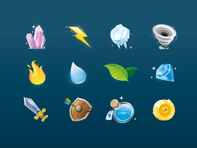 Knight/Elements game icon set sword shield leaf drop water icons game knight thunder ice jewel fire