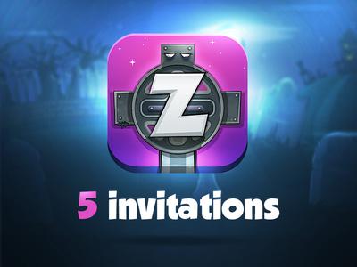 "5 Invitations - New iOS game ""ZOMBEAT Zombie Invasion"" cartoon fun invitation invite design app zombeat apple ios game zombie"