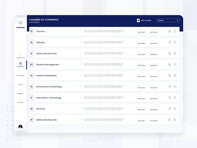 Chamber of Commerce dashboard - WEB UI list data dashboard design 2020 adobe xd ui webdesign neehad