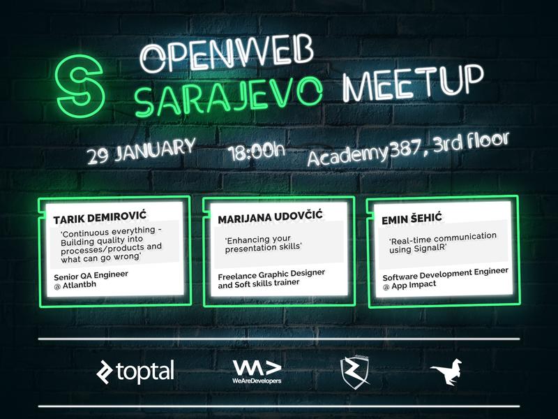 OpenWeb Sarajevo Meetup - 01/2019 other affinity affinitydesigner debut brick wall neon light neon green neon sarajevo meetup design