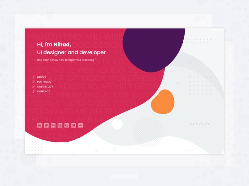 Personal website - landing page - concept webdesign 2019 web adobe xd svg morph landing neehad.com