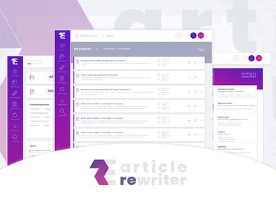 Article rewriter - dashboard ui webdesign datazup neehad 2018 adobe fireworks adobe xd ui