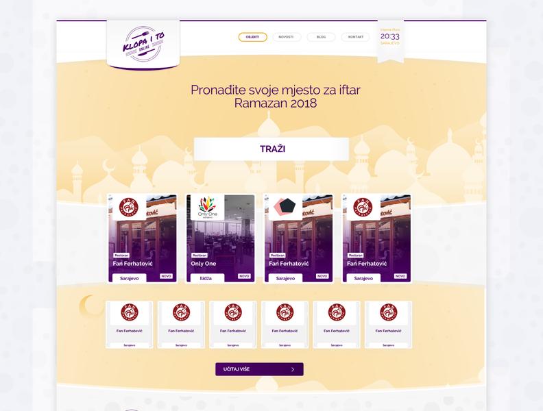 Klopaito.ba - Ramadan edition webdesign neehad 2018 web ui datazup ui adobe xd