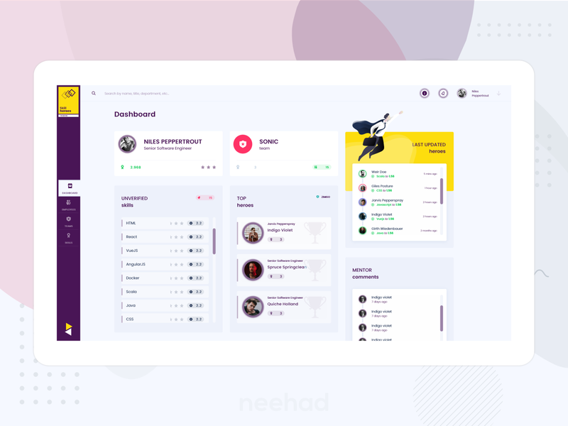 Skill heroes - web application dashboard webdesign adobe xd 2019 purple skills skill neehad uxui uidesign ui