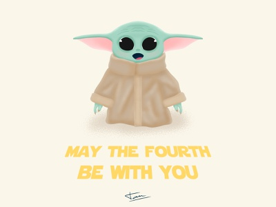 May the fourth be with you the mandalorian baby yoda star wars portrait photoshop character design illustration