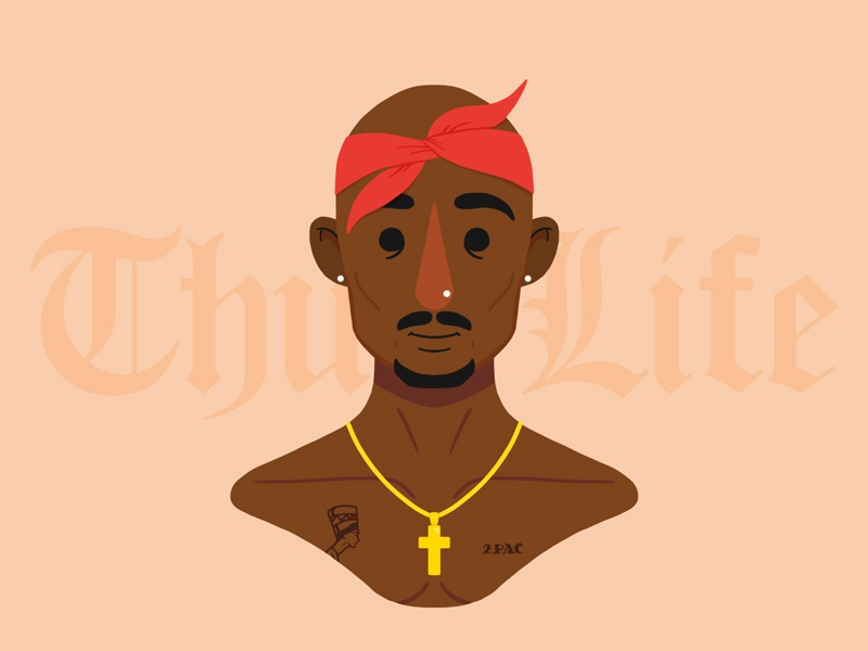Tupac 2.0 makaveli 2pac rapper tupac portrait character photoshop design illustration